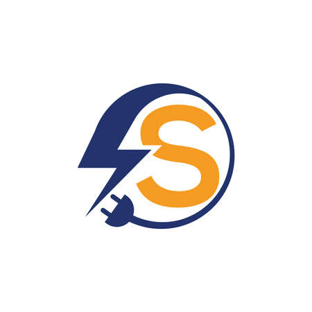 Electrical sign with the letter S,  Electricity Logo, electric logo and icon Vector design Template.Lightning Icon in Vector. Lightning Logo, Power Energy Logo Design Element, Ilustracja