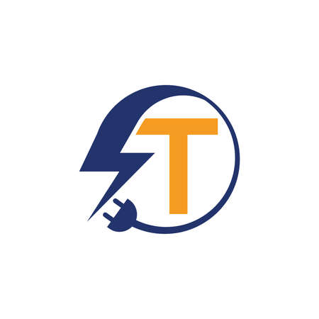 Electrical sign with the letter T,  Electricity Logo, electric logo and icon Vector design Template.Lightning Icon in Vector. Lightning Logo, Power Energy Logo Design Element,