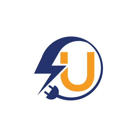 Electrical sign with the letter U,  Electricity Logo, electric logo and icon Vector design Template.Lightning Icon in Vector. Lightning Logo, Power Energy Logo Design Element, Ilustracja