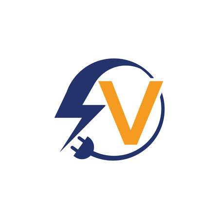 Electrical sign with the letter V,  Electricity Logo, electric logo and icon Vector design Template.Lightning Icon in Vector. Lightning Logo, Power Energy Logo Design Element,