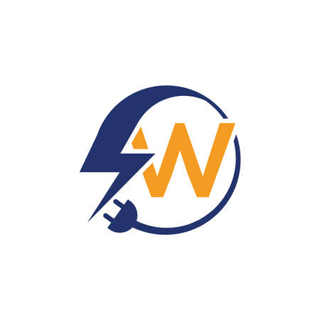 Electrical sign with the letter W,  Electricity Logo, electric logo and icon Vector design Template.Lightning Icon in Vector. Lightning Logo, Power Energy Logo Design Element,