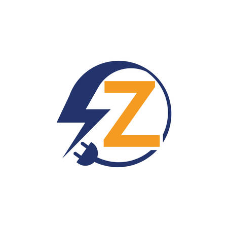 Electrical sign with the letter Z,  Electricity Logo, electric logo and icon Vector design Template.Lightning Icon in Vector. Lightning Logo, Power Energy Logo Design Element,