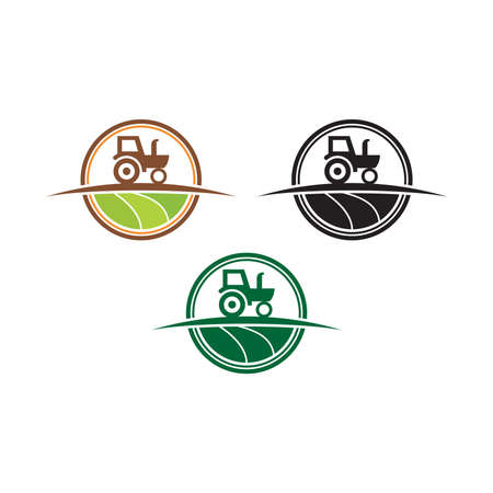 Agriculture and farming with a tractor with cultivator and plow, logo design. Agribusiness, eco-farm and rural country, vector design. Farm industries and agronomy, illustration, Logo for the agricultural industry with tractor and shovel elements