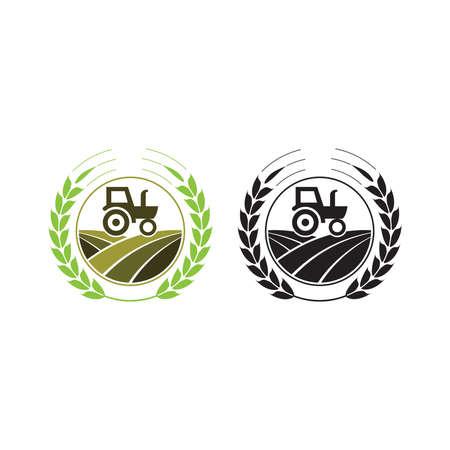 Agriculture et élevage avec un tracteur avec cultivateur et charrue, création de logo. Agro-industrie, éco-ferme et pays rural, conception vectorielle. Industries agricoles et agronomie, illustration, Logo pour l'industrie agricole avec éléments de tracteur et de pelle