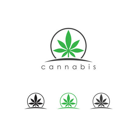Cannabis leaf logo Designs Inspiration Isolated on White Background, maple cannabis logo icon vector, Marijuana leaf logo design template vector illustration, Cannabis Agriculture logo. Leaf fresh logo.  Cannabis Business Logo Concept