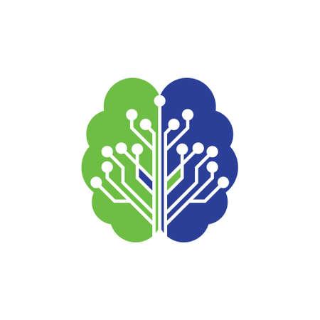 Brain connection logo design. digital brain logo template, Brain logo. Brain icon. Brainstorm icon.