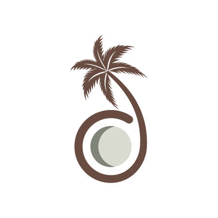 coconut tree design, Nature product coconut oil emblem Banque d'images - 138419638