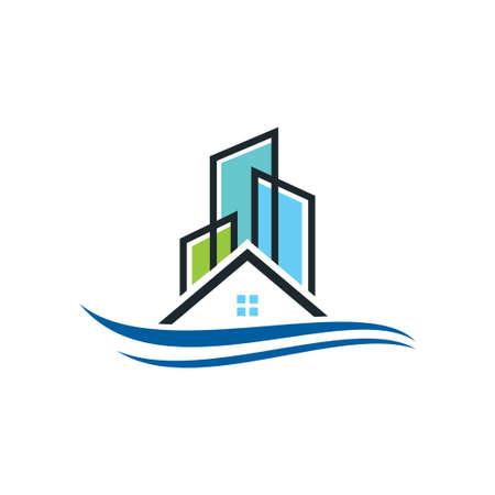 Immobilienvektorlogoschablone, Haus- oder Hauptlogodesign