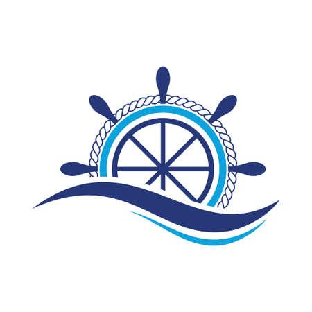 ship steering wheel logo design template vector icon Logo
