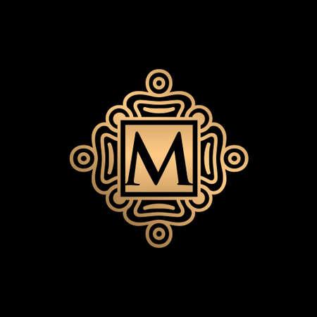 Gold ornament with M letter logo design