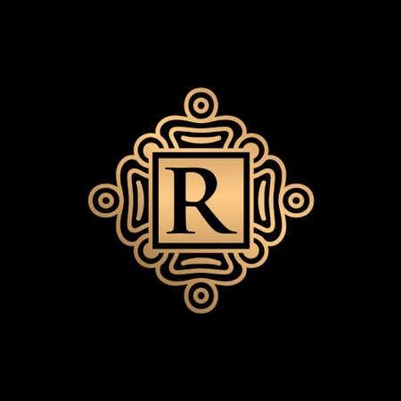 Gold ornament with R letter logo design Ilustração