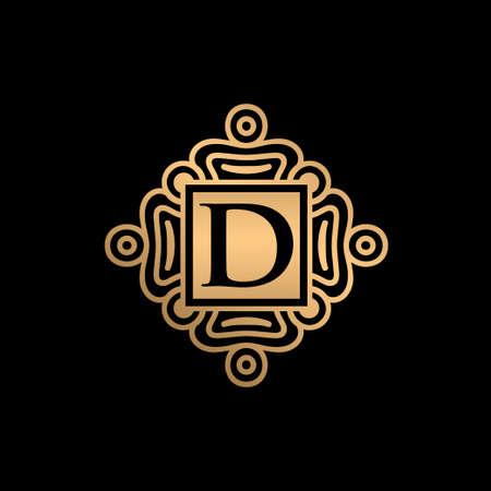 Gold ornament with D letter logo design Ilustração