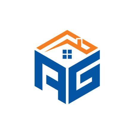 Abstract polygonal AG Logo, AG letter logo, polygonal AG Logo sing, and Symbol, AG Initial logo template, AG logo letter initial, Home logo, creative home logo Logo