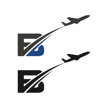 B Letter with Aviation Logo Design template Letter with airline and plane Logo