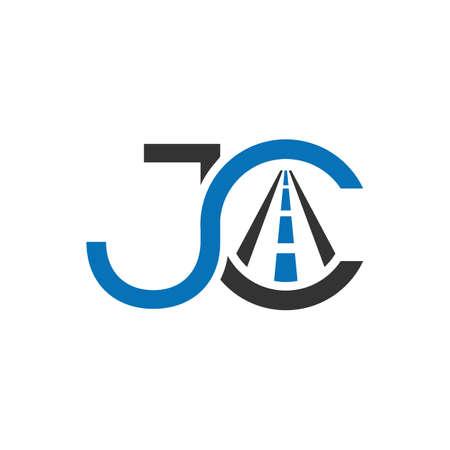 Creative Letter JC element with road sign logo Design initial letter logo cj jc