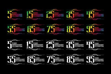 Set of anniversary logo template, Vector design birthday celebration