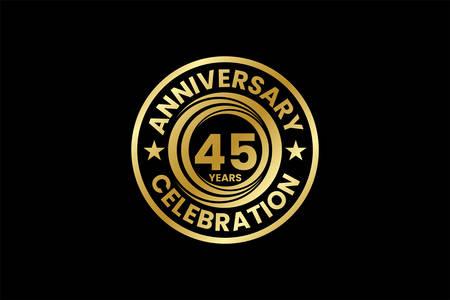 Anniversary template Vector design birthday celebration, Golden anniversary emblem, Design for booklet leaflet magazine brochure poster web invitation or greeting card Ilustração