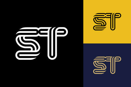 S and T combination Lines Letter Logo, Creative Line Letters Design Template