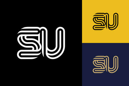 S and U combination Lines Letter Logo, Creative Line Letters Design Template Ilustracja