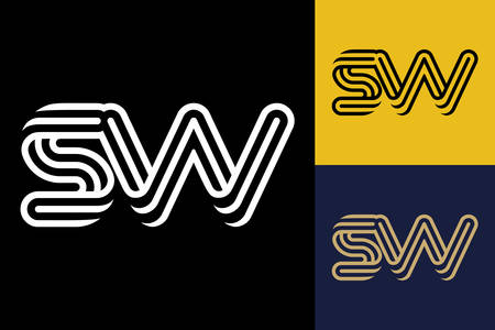S and W combination Lines Letter Logo, Creative Line Letters Design Template