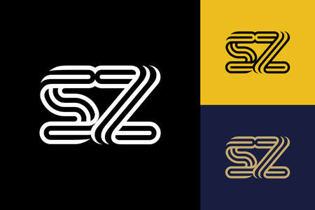 S and Z combination Lines Letter Logo, Creative Line Letters Design Template