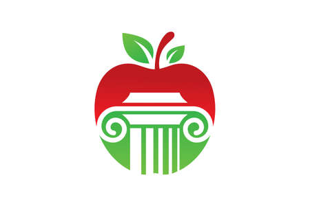 Apple and law pillar logo sign symbol in flat style on white background Ilustrace