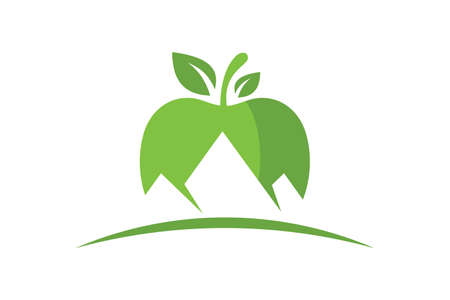 Apple and Mountain logo sign symbol in flat style on white background