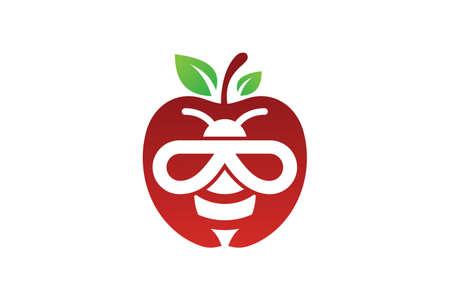 Abstract bee apple logo sign symbol on white background. Bee and apple illustration logo, Ilustracja