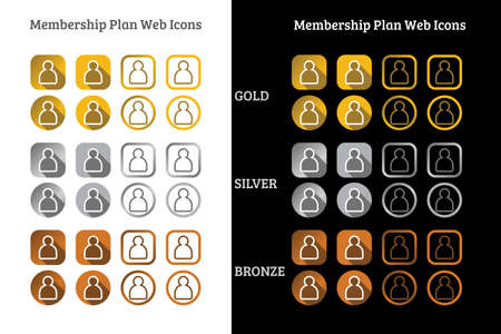 Membership plan web Icon design in Gold, Silver and Bronze color