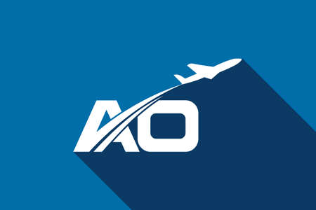 Initial Letter A and O with Aviation Logo Design, Air, Airline, Airplane and Travel Logo template.