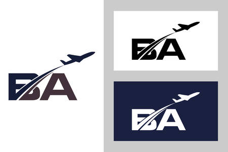 Initial Letter B and A with Aviation Logo Design, Air, Airline, Airplane and Travel Logo template.