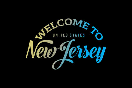 Welcome To NEW JERSEY Word Text, Creative Font Design Illustration, Welcome sign