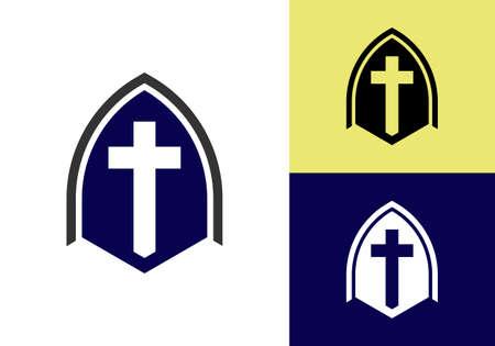 Church logo. Christian sign symbols. The Cross of Jesus