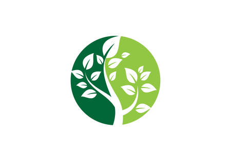 Green tree logo in a circle shape, ecology green plant sign. Illustration