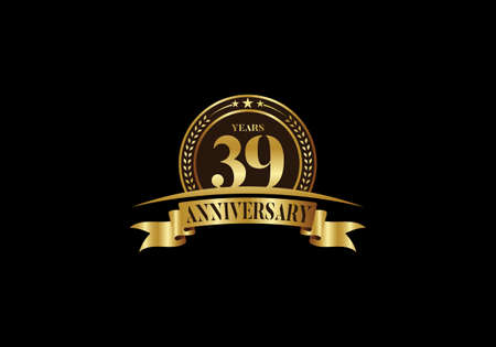39 th years anniversary logo template, vector design birthday celebration, Golden anniversary emblem with ribbon. Design for a booklet, leaflet, magazine, brochure, poster, web, invitation or greeting