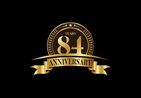 84th years anniversary logo template, vector design birthday celebration, Golden anniversary emblem with ribbon. Design for a booklet, leaflet, magazine, brochure, poster, web, invitation or greeting