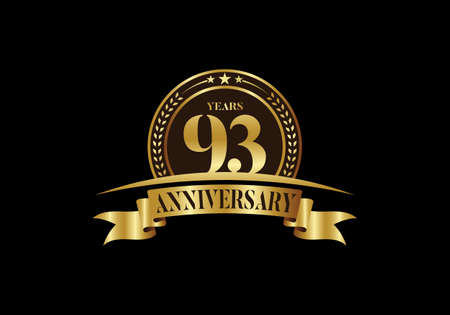 93th years anniversary logo template, vector design birthday celebration, Golden anniversary emblem with ribbon. Design for a booklet, leaflet, magazine, brochure, poster, web, invitation or greeting