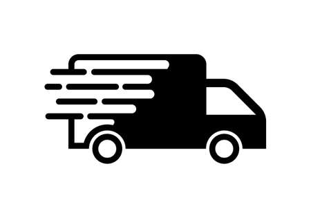 Fast moving shipping delivery truck vector icon for transportation apps and websites