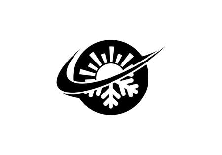 Air conditioner logo sign symbol, Hot and cold symbol