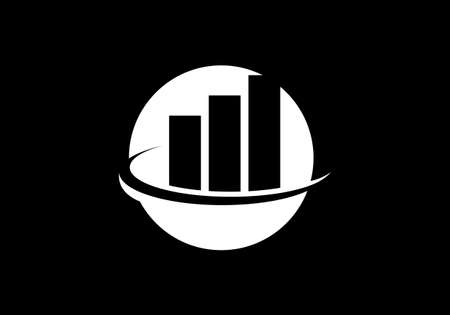 Financial Accounting Logo, Vector illustration on a black background.