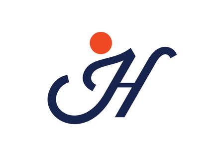 Initial Monogram Letter J H Logo Design Vector Template. JH Letter Logo Design 向量圖像