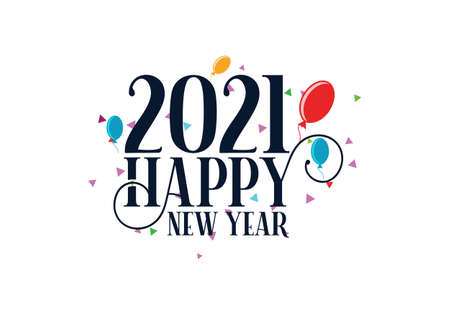 Happy New Year 2021.New year celebration. Celebration typography poster, banner or greeting card 矢量图像