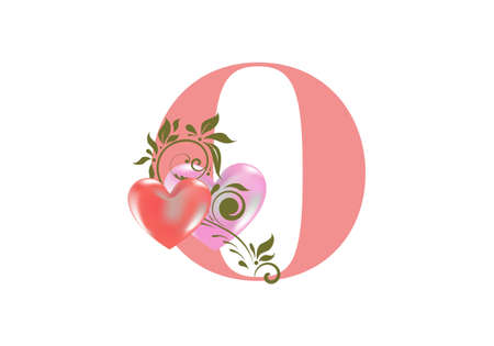 Floral alphabet, letter O with two hearts. Monogram initials for wedding invitations, greeting card etc. Valentine's day concept