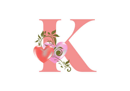 Floral alphabet, letter K with two hearts. Monogram initials for wedding invitations, greeting card etc. Valentine's day concept