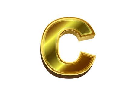 3d golden letter C. Luxury gold alphabet on white background