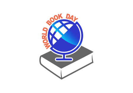 World book day. Book and globe sign on white background