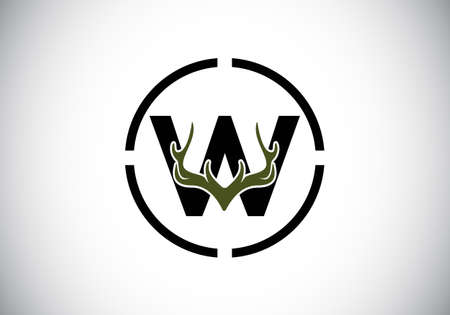 Letter W with deer antlers in target shape, flat style logo design vector template, Hunting inspirations symbol for corporate business identity Logo