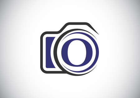 Initial O monogram letter alphabet with a camera icon. Photography logo vector illustration. Modern logo design for photography business, and company identity. Logo