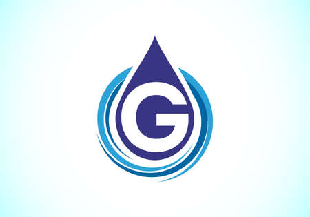 Initial G monogram alphabet with water drop in a spiral. Water drop logo design vector template. Font emblem. Modern vector logo for business and company identity