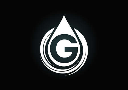 Initial G monogram alphabet with water drop in a spiral. Water drop logo design vector template. Font emblem. Modern vector logo for business and company identity Logó